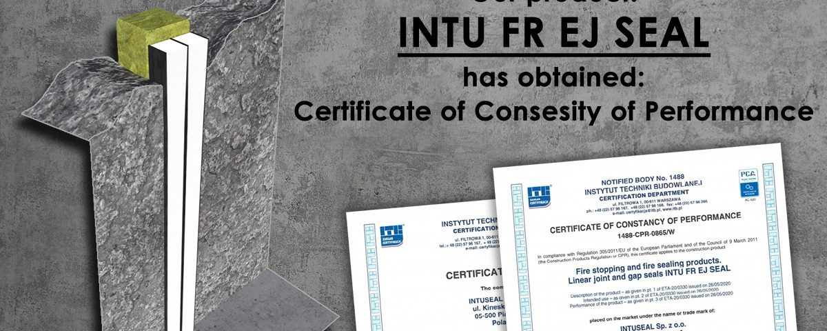 INTU FR EJ SEAL ETA Certificate of Consesity of Performance